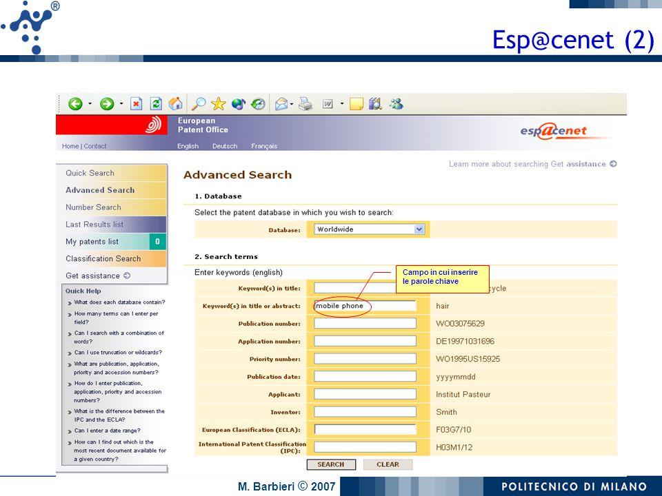 Esp@cenet (2) Campo in cui inserire le parole chiave