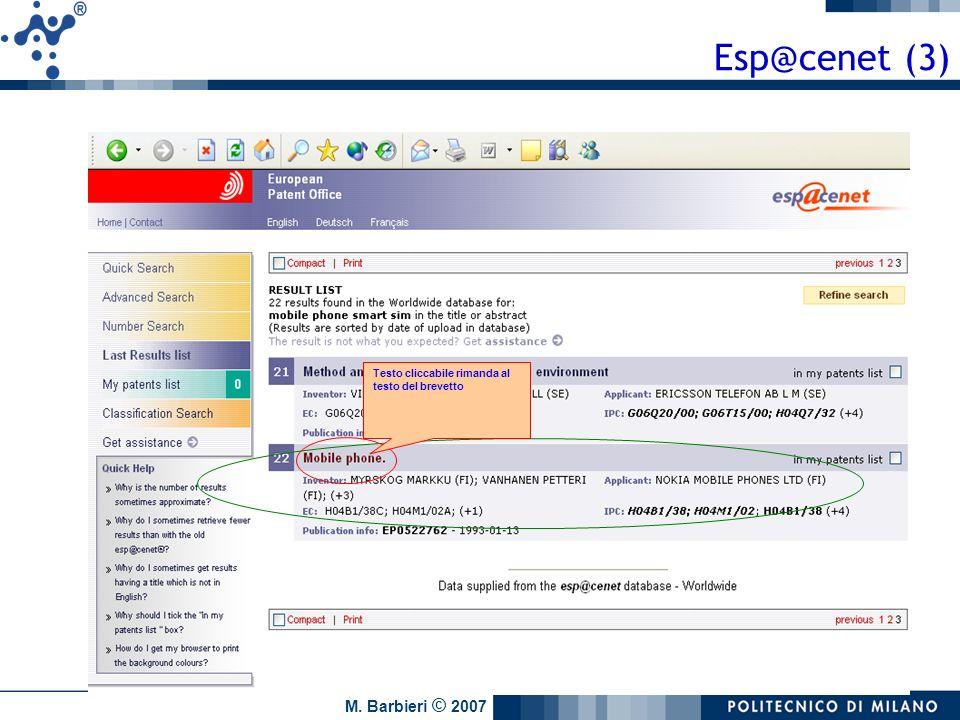 Esp@cenet (3) Testo cliccabile rimanda al testo del brevetto