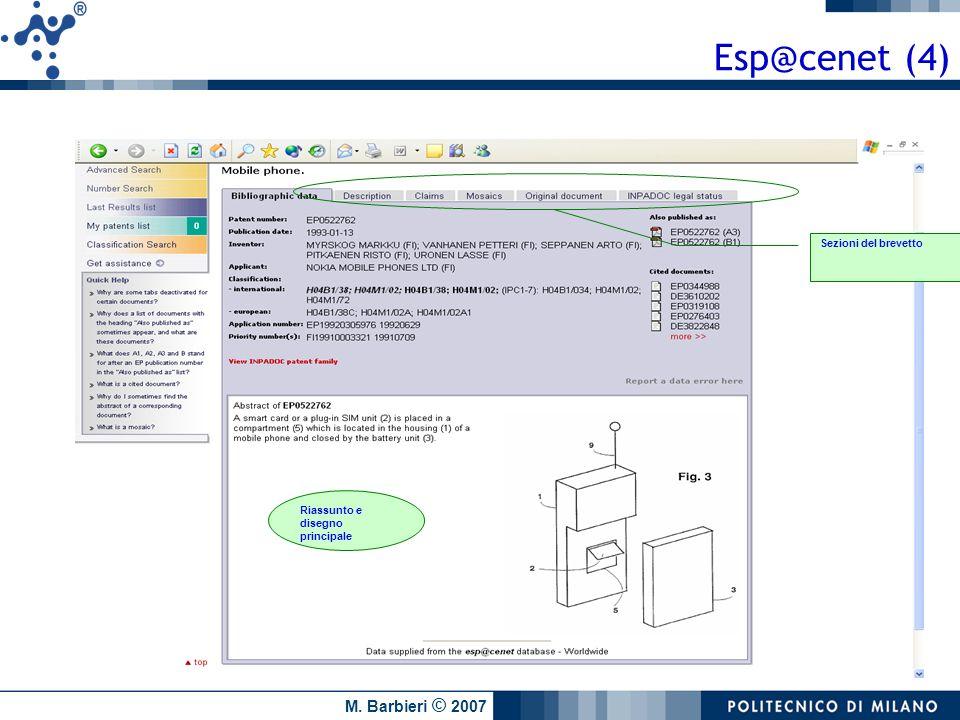 Esp@cenet (4) Sezioni del brevetto Riassunto e disegno principale