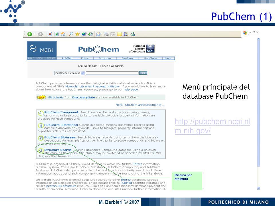 PubChem (1) Menù principale del database PubChem