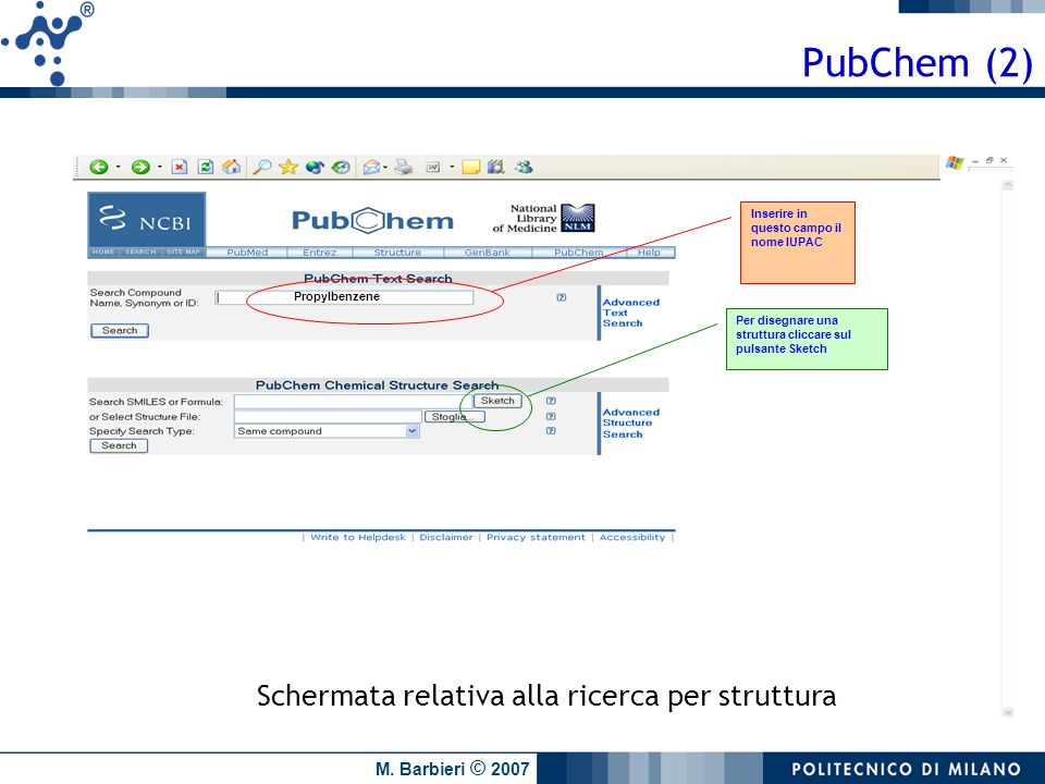 PubChem (2) Schermata relativa alla ricerca per struttura