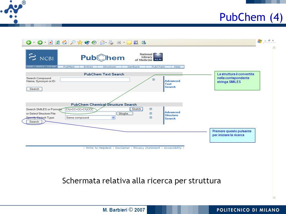 PubChem (4) Schermata relativa alla ricerca per struttura