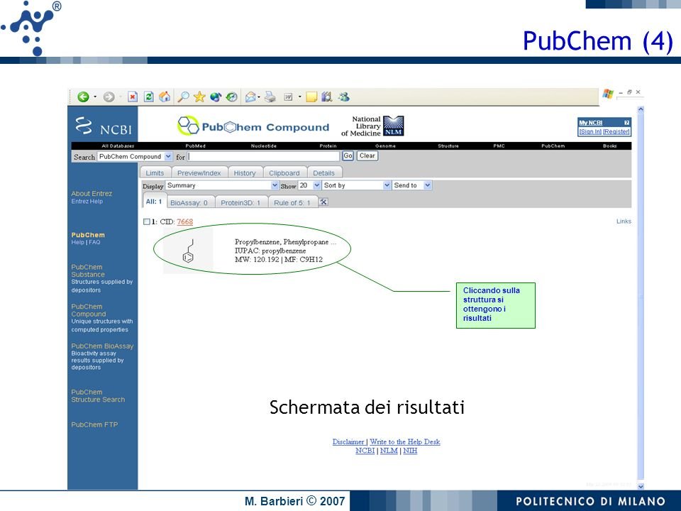 PubChem (4) Schermata dei risultati