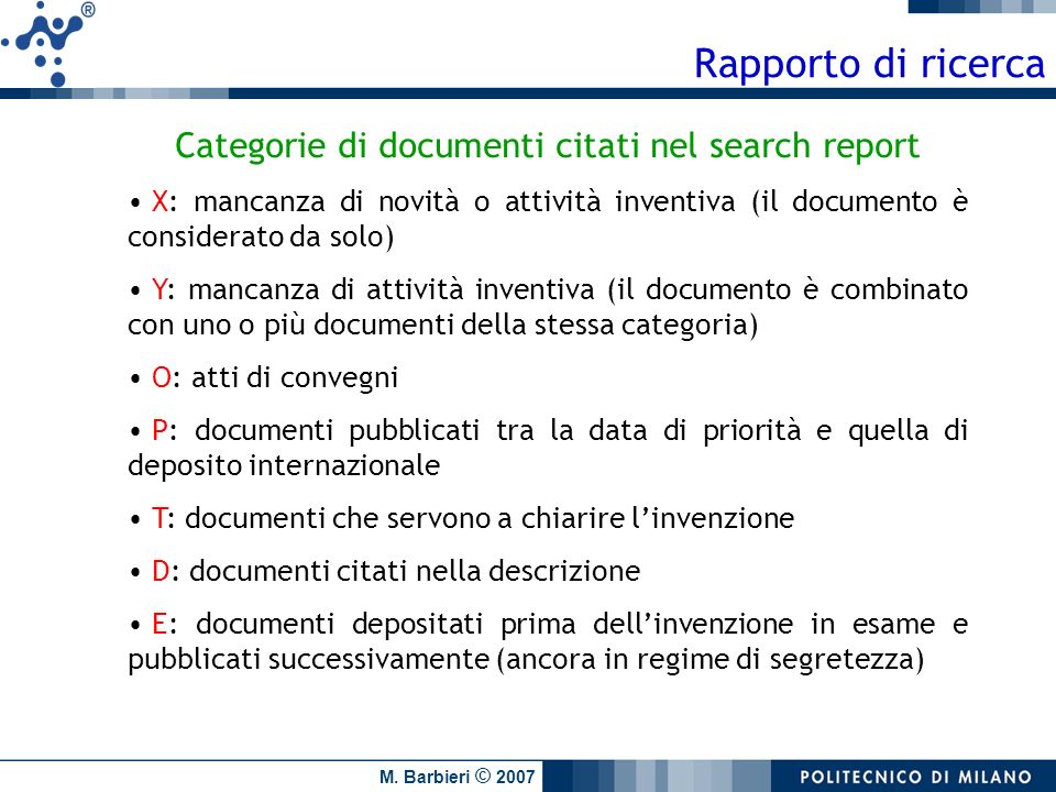 Categorie di documenti citati nel search report