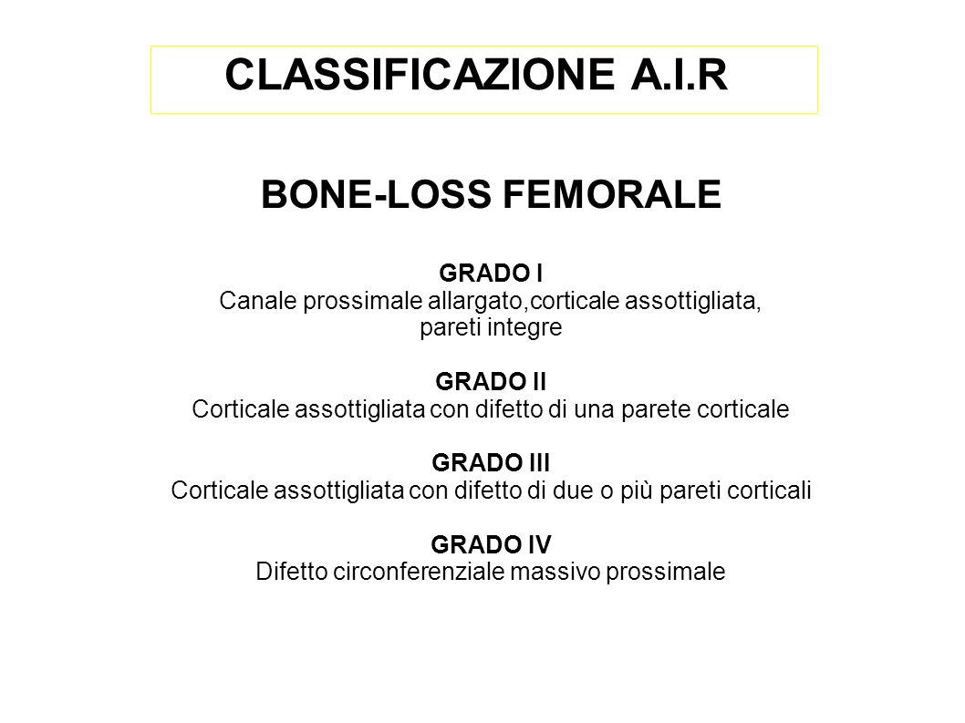 CLASSIFICAZIONE A.I.R BONE-LOSS FEMORALE GRADO I