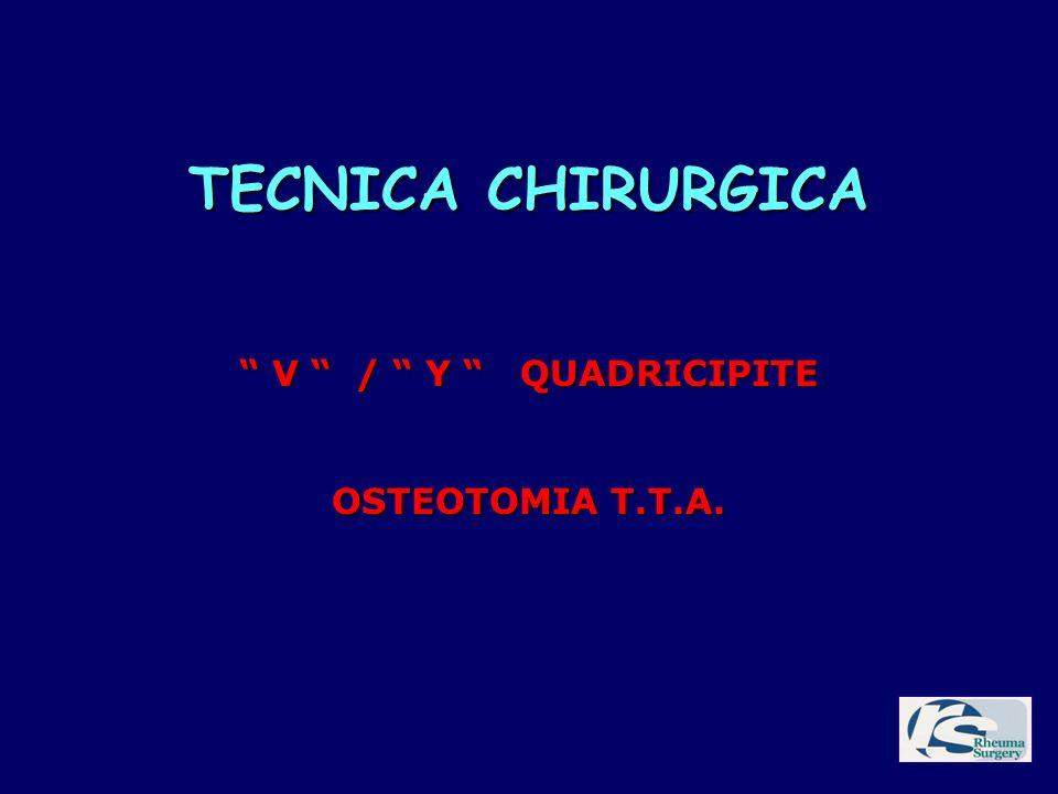 TECNICA CHIRURGICA V / Y QUADRICIPITE OSTEOTOMIA T.T.A.