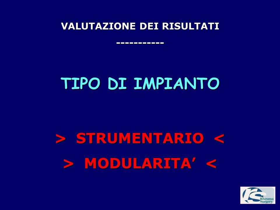VALUTAZIONE DEI RISULTATI > STRUMENTARIO <
