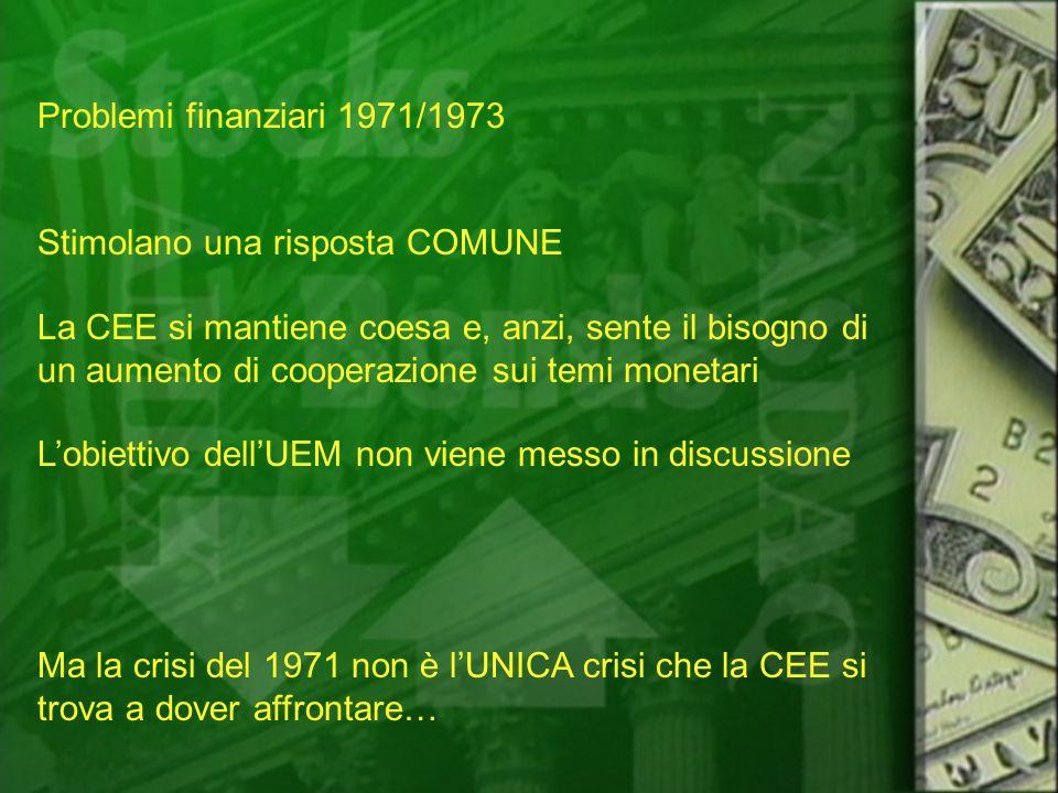 Problemi finanziari 1971/1973 Stimolano una risposta COMUNE.