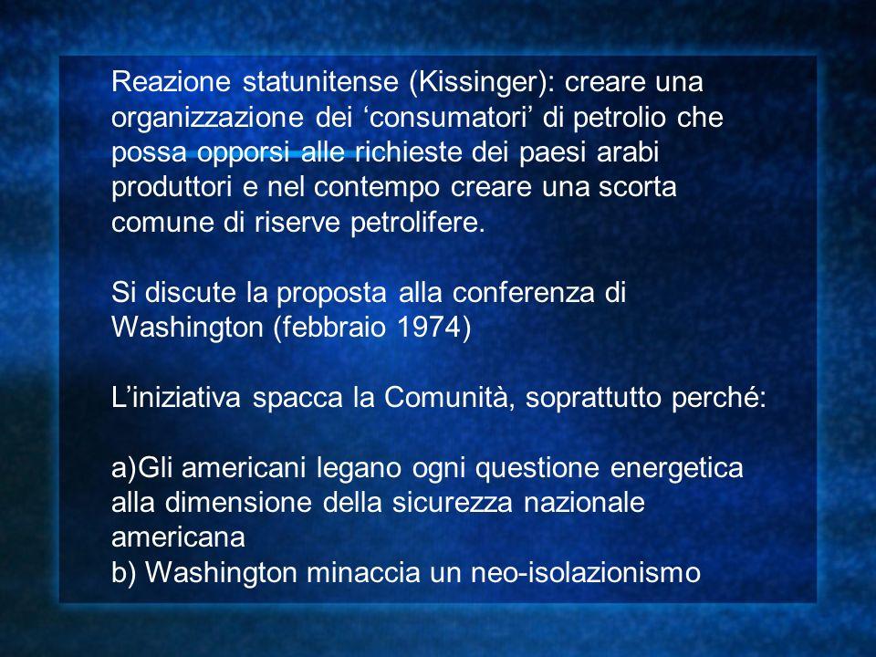 Reazione statunitense (Kissinger): creare una organizzazione dei 'consumatori' di petrolio che possa opporsi alle richieste dei paesi arabi produttori e nel contempo creare una scorta comune di riserve petrolifere.