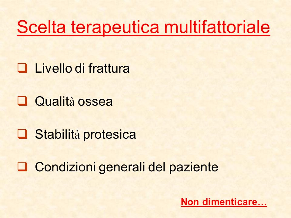 Scelta terapeutica multifattoriale