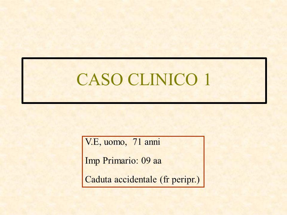 CASO CLINICO 1 V.E, uomo, 71 anni Imp Primario: 09 aa