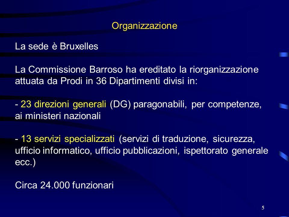 OrganizzazioneLa sede è Bruxelles. La Commissione Barroso ha ereditato la riorganizzazione attuata da Prodi in 36 Dipartimenti divisi in: