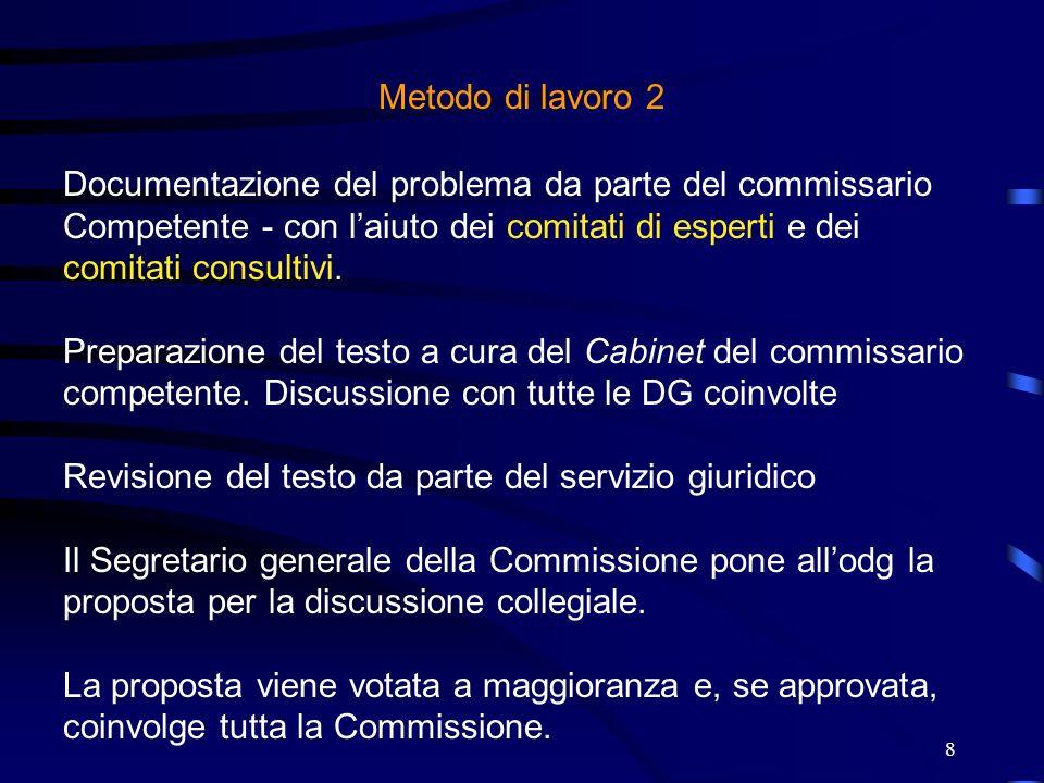 Metodo di lavoro 2Documentazione del problema da parte del commissario. Competente - con l'aiuto dei comitati di esperti e dei comitati consultivi.