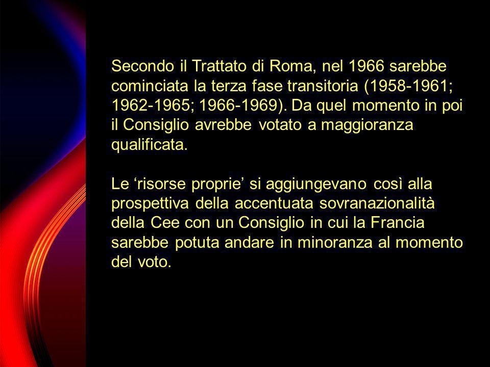 Secondo il Trattato di Roma, nel 1966 sarebbe cominciata la terza fase transitoria (1958-1961; 1962-1965; 1966-1969). Da quel momento in poi il Consiglio avrebbe votato a maggioranza qualificata.