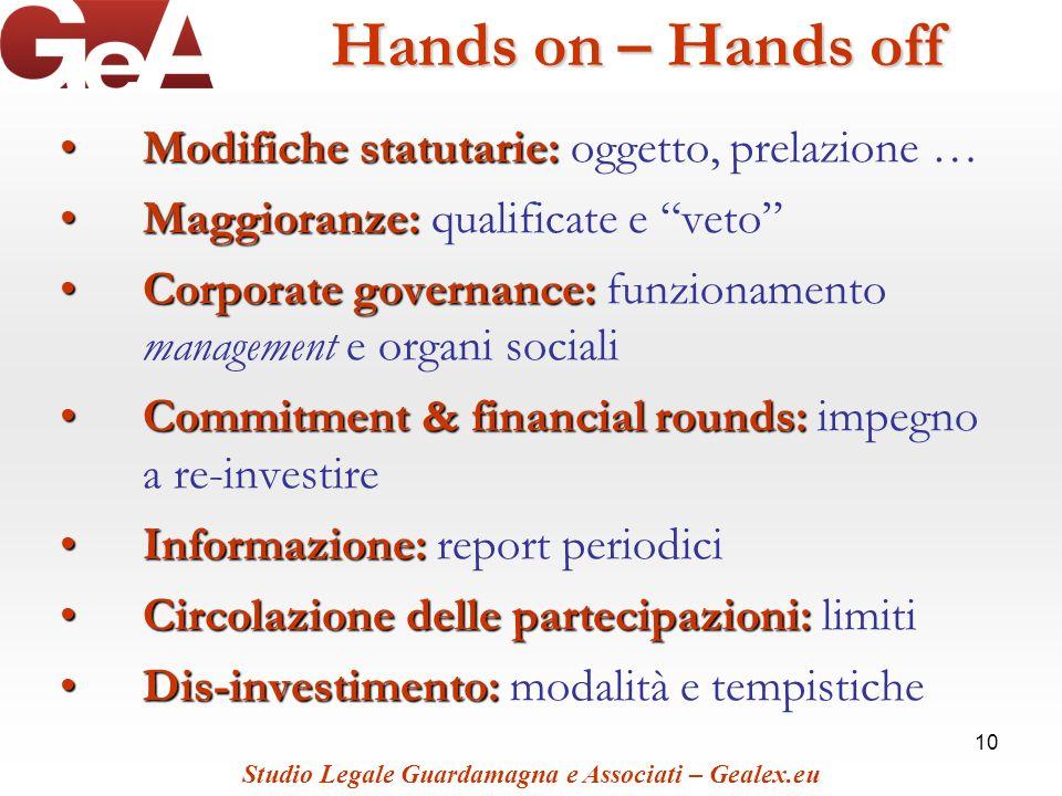 Hands on – Hands off Modifiche statutarie: oggetto, prelazione …
