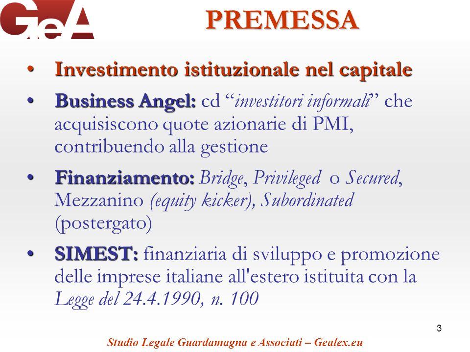 PREMESSA Investimento istituzionale nel capitale
