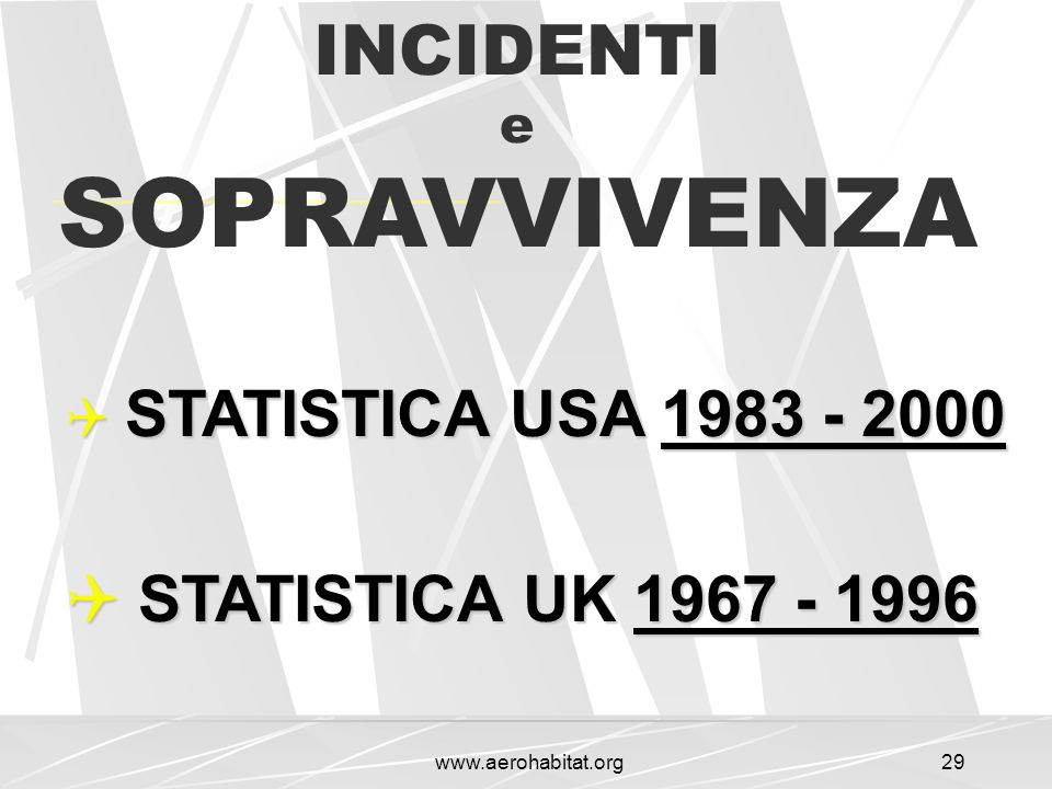 SOPRAVVIVENZA INCIDENTI STATISTICA UK 1967 - 1996 e