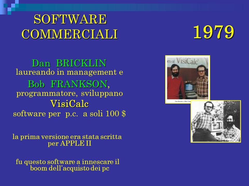 1979 SOFTWARE COMMERCIALI Dan BRICKLIN laureando in management e