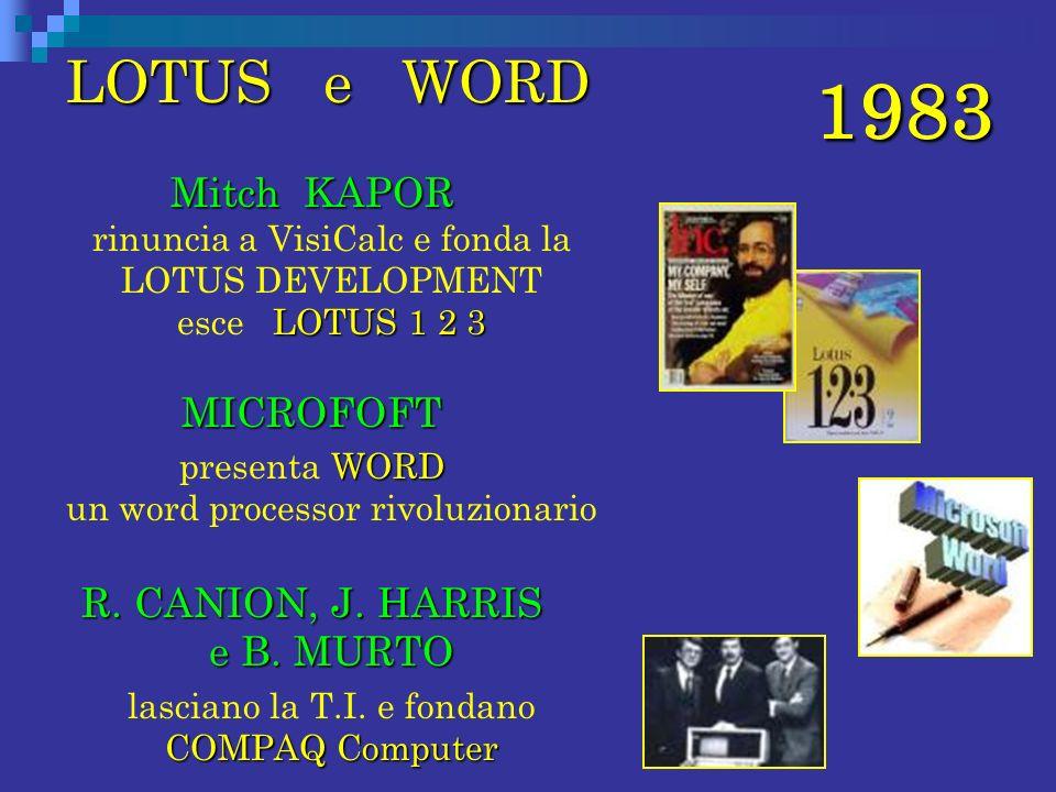 LOTUS e WORD Mitch KAPOR rinuncia a VisiCalc e fonda la LOTUS DEVELOPMENT esce LOTUS 1 2 3.