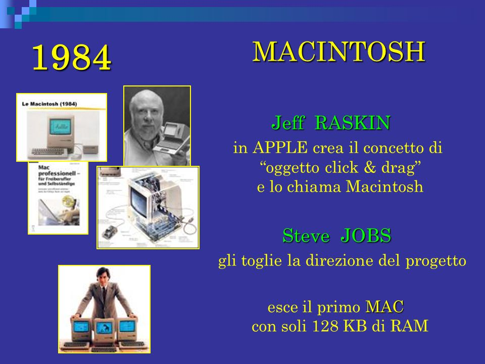 1984 MACINTOSH Jeff RASKIN Steve JOBS