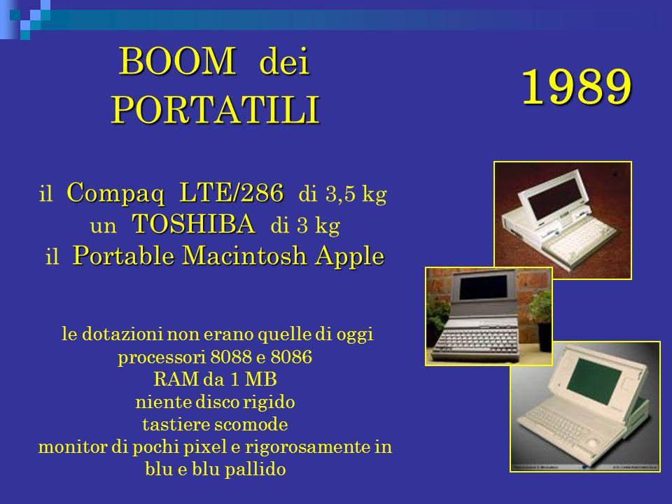 BOOM dei PORTATILI il Compaq LTE/286 di 3,5 kg un TOSHIBA di 3 kg il Portable Macintosh Apple.