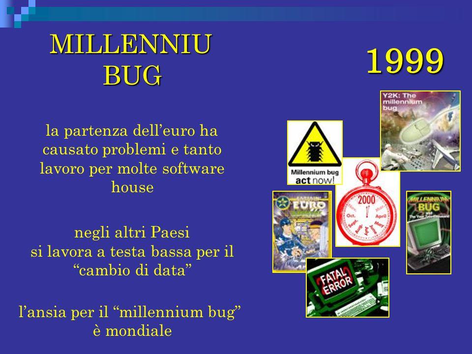 MILLENNIU BUG la partenza dell'euro ha causato problemi e tanto lavoro per molte software house.