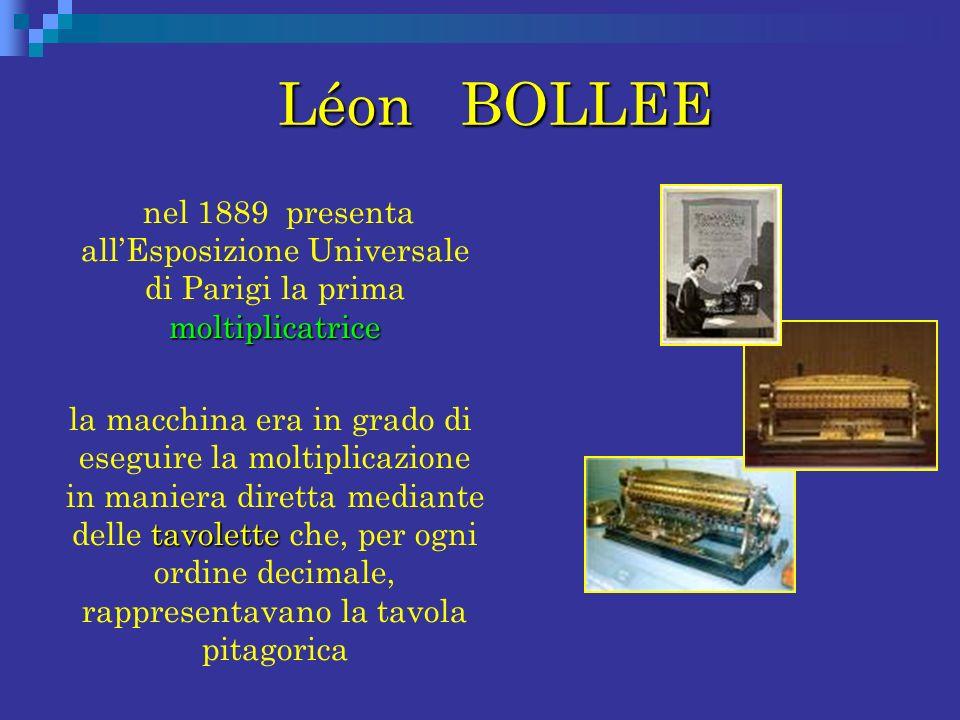 Léon BOLLEE nel 1889 presenta all'Esposizione Universale di Parigi la prima moltiplicatrice.