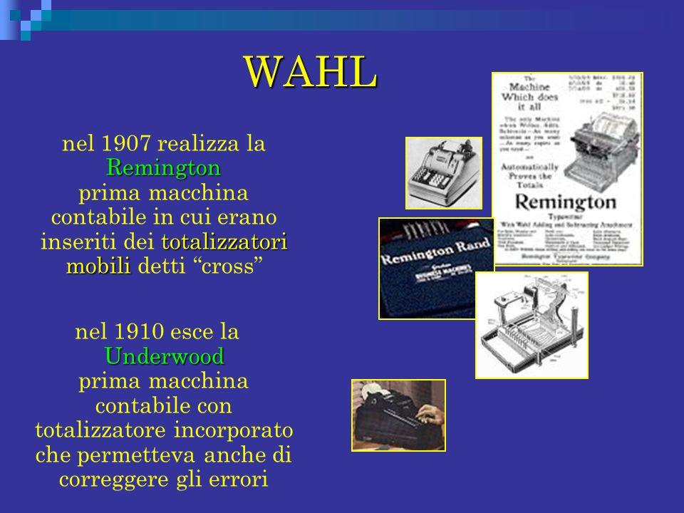 WAHL nel 1907 realizza la Remington prima macchina contabile in cui erano inseriti dei totalizzatori mobili detti cross