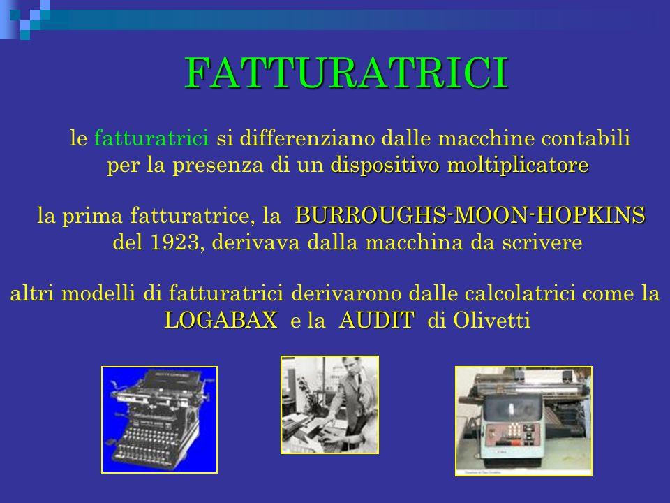 FATTURATRICI le fatturatrici si differenziano dalle macchine contabili per la presenza di un dispositivo moltiplicatore.