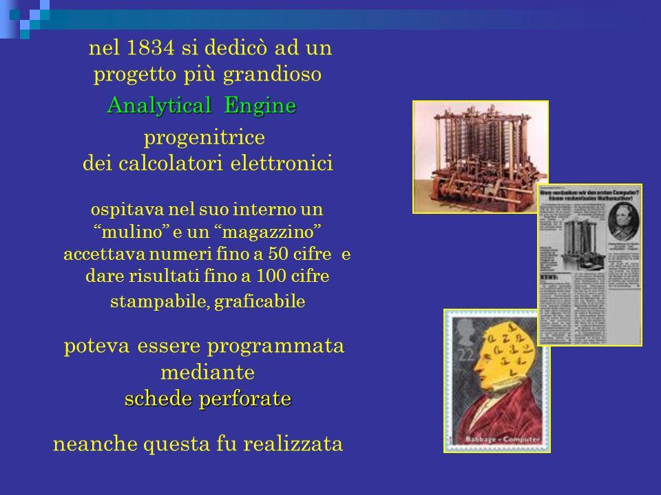 nel 1834 si dedicò ad un progetto più grandioso Analytical Engine
