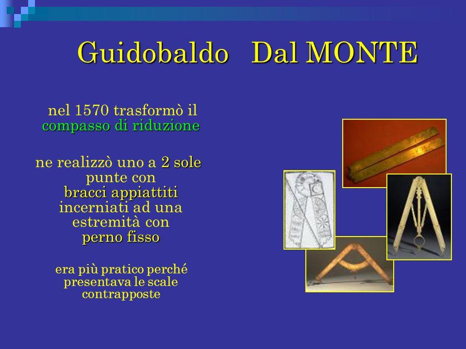 Guidobaldo Dal MONTE nel 1570 trasformò il compasso di riduzione