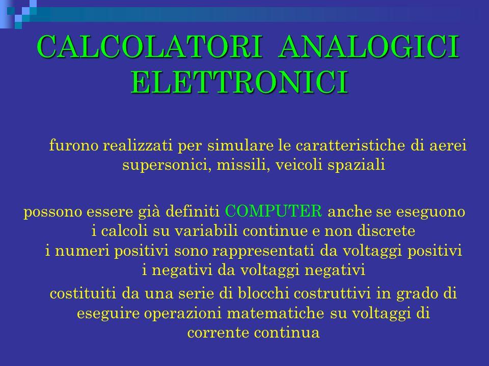 CALCOLATORI ANALOGICI ELETTRONICI