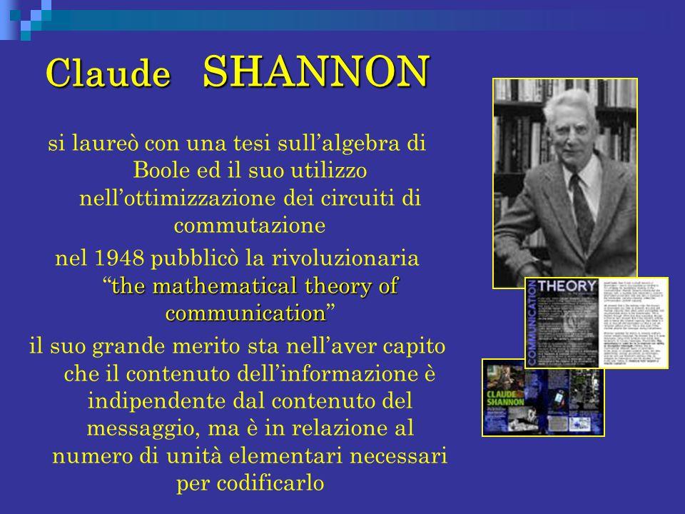 Claude SHANNON si laureò con una tesi sull'algebra di Boole ed il suo utilizzo nell'ottimizzazione dei circuiti di commutazione.
