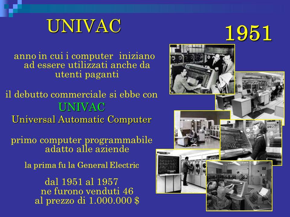 1951 UNIVAC. anno in cui i computer iniziano ad essere utilizzati anche da utenti paganti. il debutto commerciale si ebbe con.