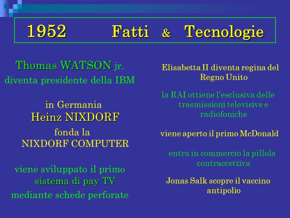1952 Fatti & Tecnologie Thomas WATSON jr. diventa presidente della IBM