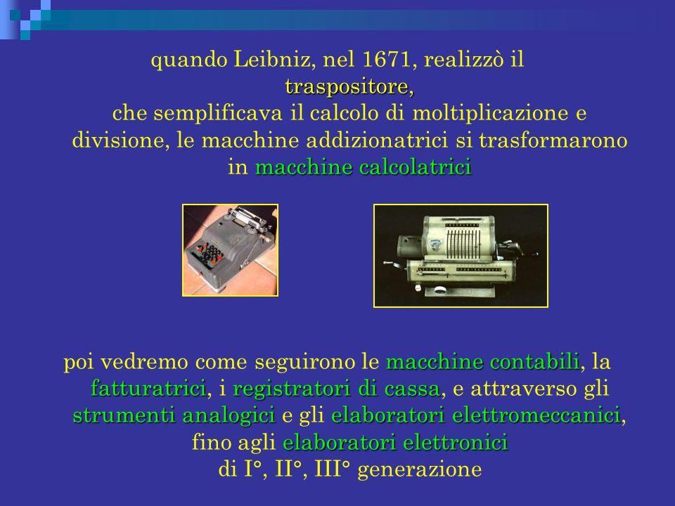 quando Leibniz, nel 1671, realizzò il traspositore, che semplificava il calcolo di moltiplicazione e divisione, le macchine addizionatrici si trasformarono in macchine calcolatrici