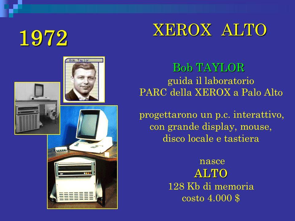 1972 XEROX ALTO. Bob TAYLOR guida il laboratorio PARC della XEROX a Palo Alto.