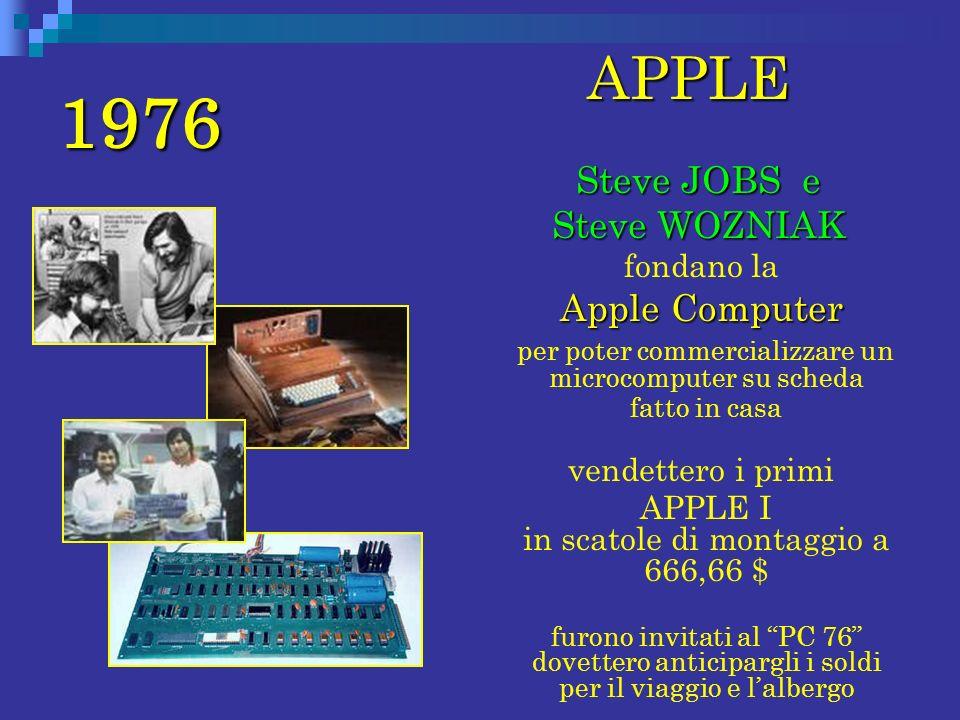 1976 APPLE Steve JOBS e Steve WOZNIAK fondano la Apple Computer