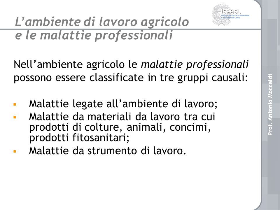 L'ambiente di lavoro agricolo e le malattie professionali