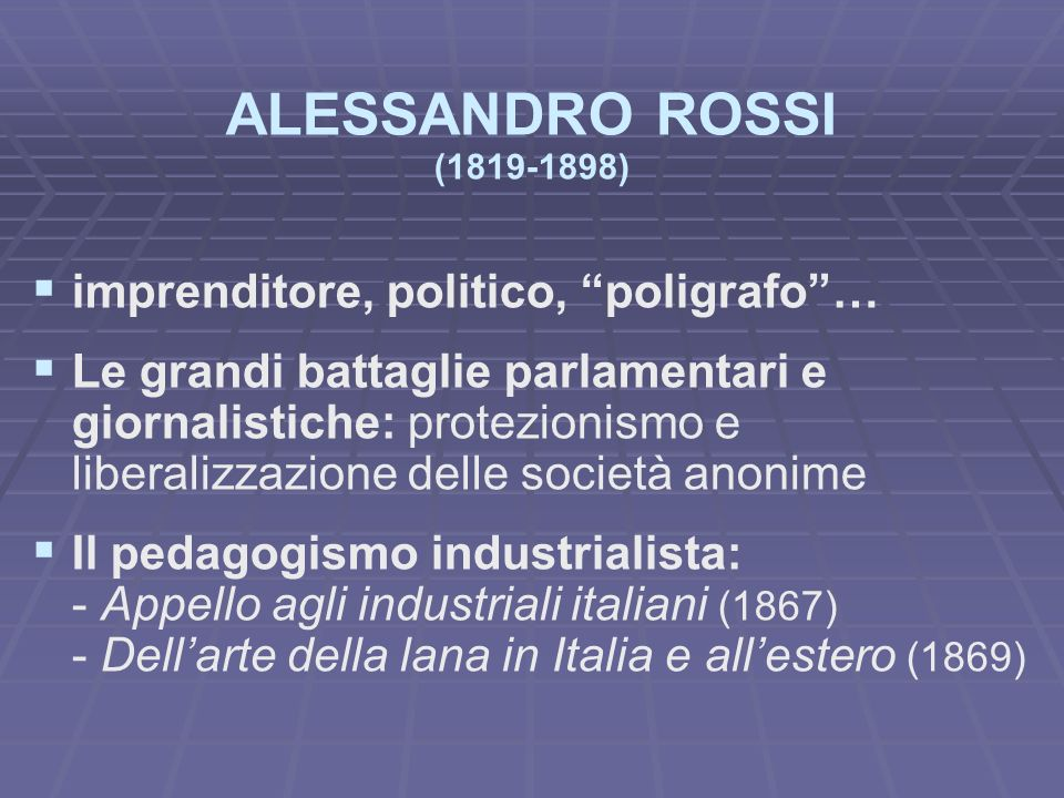 ALESSANDRO ROSSI imprenditore, politico, poligrafo …