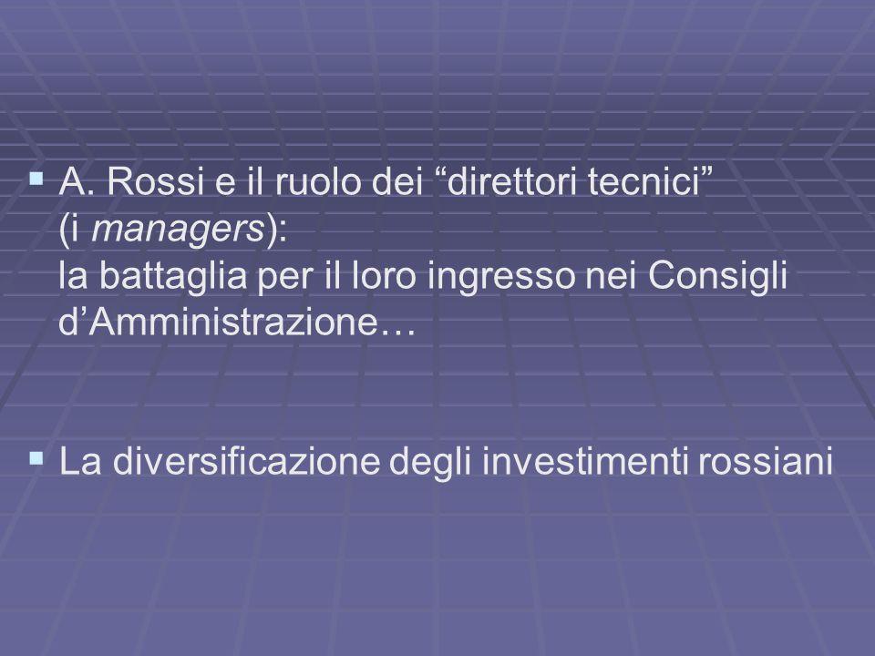 A. Rossi e il ruolo dei direttori tecnici