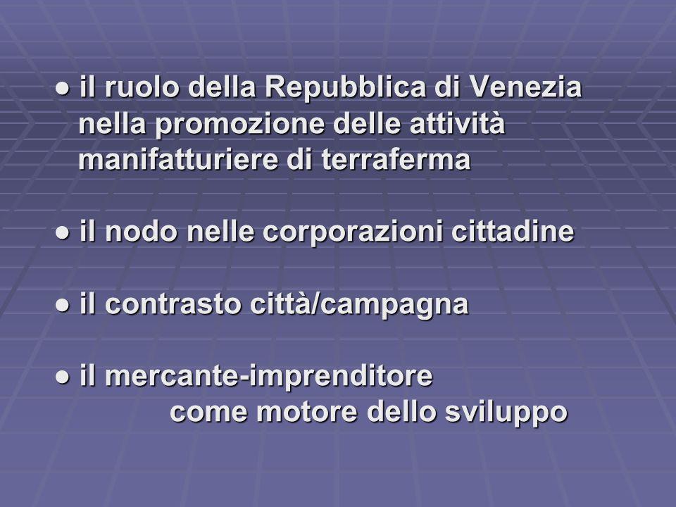 ● il ruolo della Repubblica di Venezia nella promozione delle attività