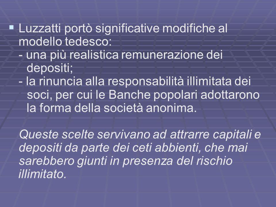 Luzzatti portò significative modifiche al modello tedesco: