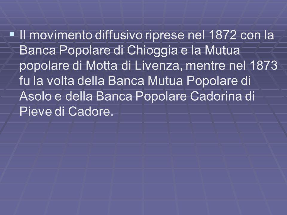 Il movimento diffusivo riprese nel 1872 con la Banca Popolare di Chioggia e la Mutua popolare di Motta di Livenza, mentre nel 1873 fu la volta della Banca Mutua Popolare di Asolo e della Banca Popolare Cadorina di Pieve di Cadore.