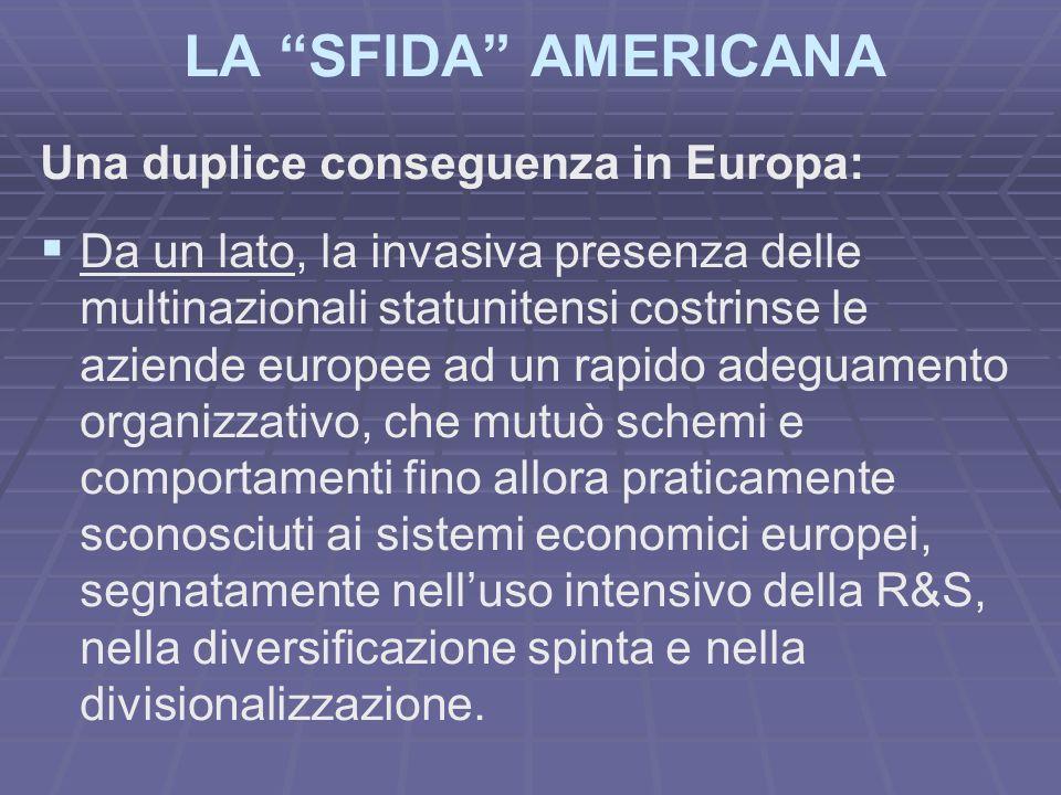 LA SFIDA AMERICANA Una duplice conseguenza in Europa: