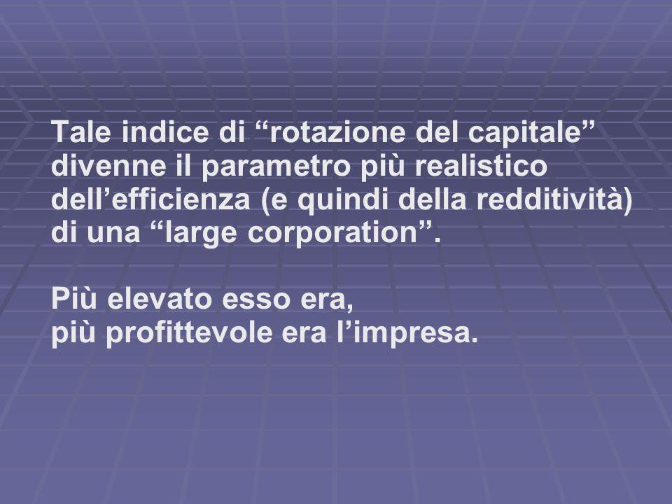 Tale indice di rotazione del capitale divenne il parametro più realistico dell'efficienza (e quindi della redditività) di una large corporation .
