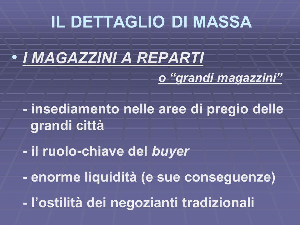 IL DETTAGLIO DI MASSA I MAGAZZINI A REPARTI