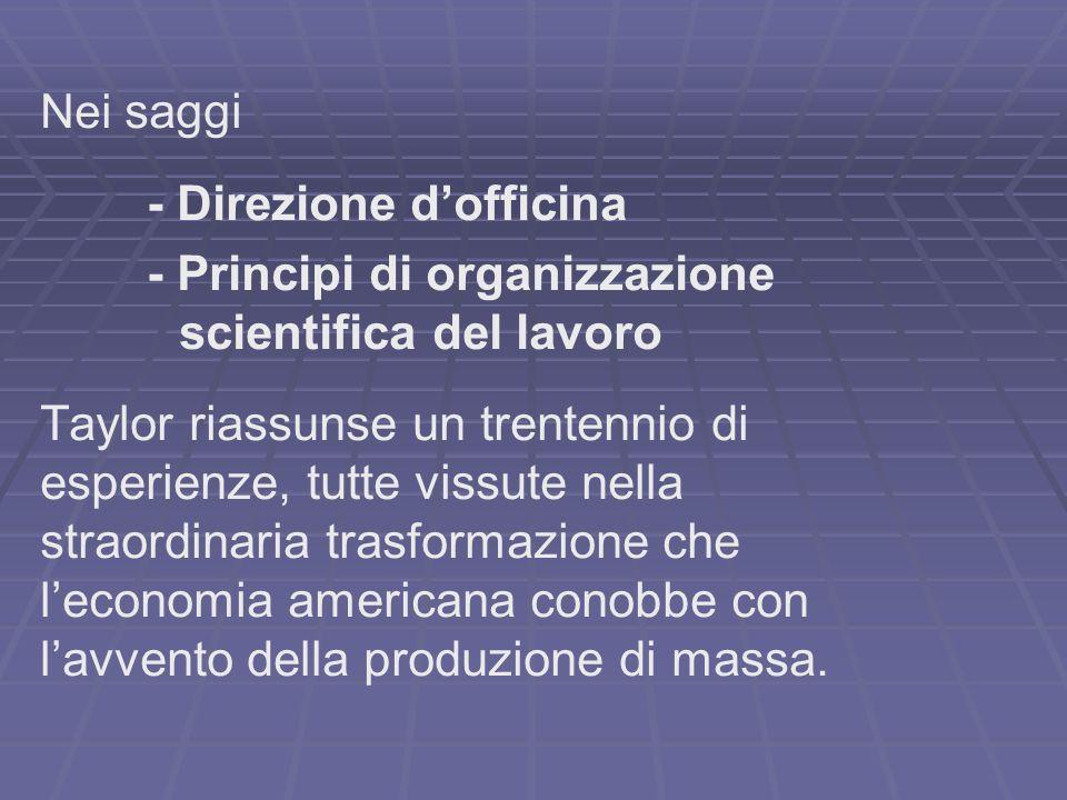- Direzione d'officina - Principi di organizzazione
