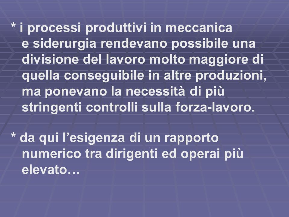 * i processi produttivi in meccanica