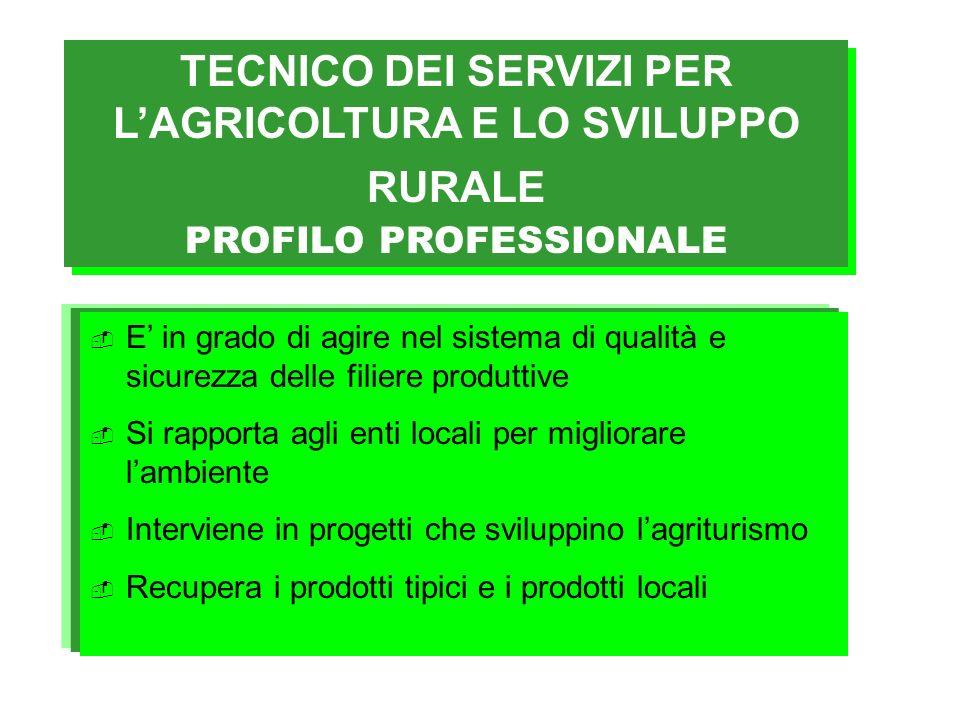 TECNICO DEI SERVIZI PER L'AGRICOLTURA E LO SVILUPPO RURALE PROFILO PROFESSIONALE